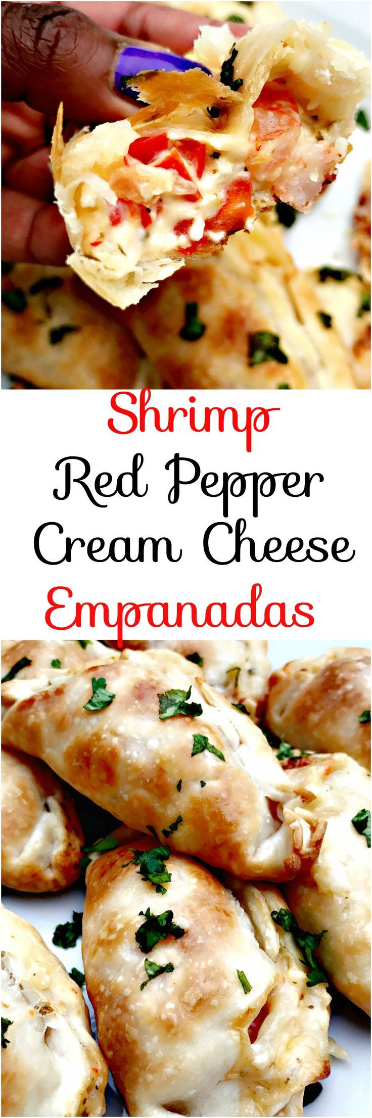 Shrimp Red Pepper Cream Cheese Empanadas with gooey pepperjack and mozzarella cheese loaded into a savory flaky, buttery crust.