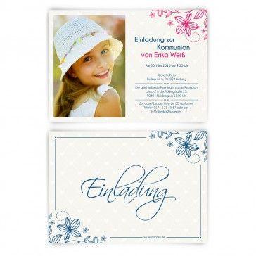 Einladungskarten Zur #Kommunion Im Blumenkind Design. Mit Eigenem Foto Und  Text. Jetzt Auf
