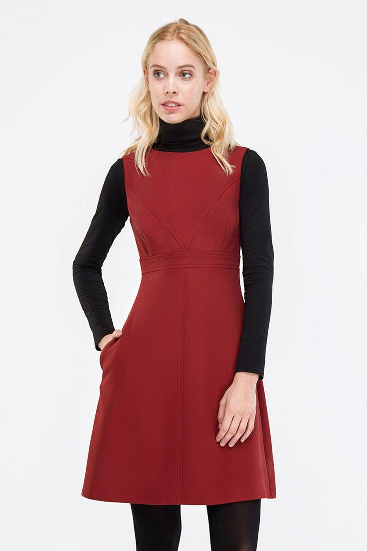 Сарафан винного цвета с V-образной отстрочкой купить в Киеве и Украине - Украинский бренд MustHave, красивые платья, стильная женская одежда, интернет-магазин женской одежды MustHave