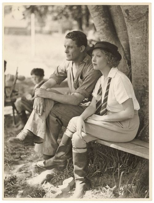His and hers Vintage 1930s Afternoon style casual day wear pants photo print found hat fashion men women white shirt tie boots