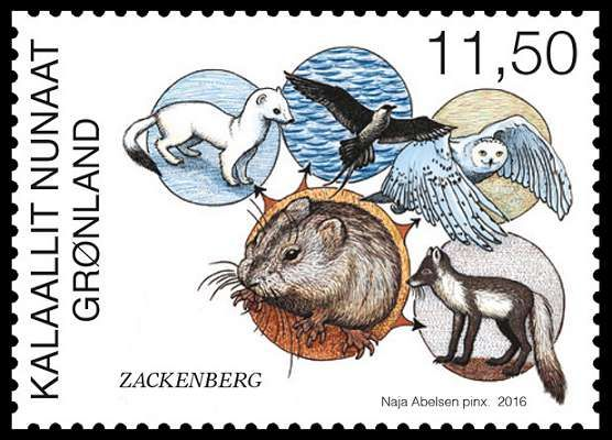 Stamps about Zackenberg Research Station in North East Greenland. Designed by Naja Abelsen. Released 17.10.2016. The motive shows the foodchain of the lemming. www.najaabelsen.dk