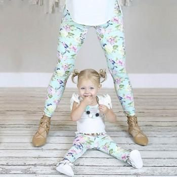 Adorable Floral Mom and Me Leggings in Light Blue