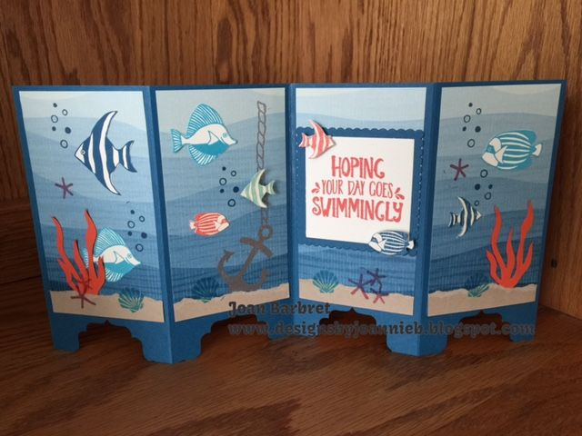 Seaside Shore/By The Shore DSP/Screen Cards/Stampin' Up/Nautical/Fish/www.designsbyjoannieb.blogspot.com