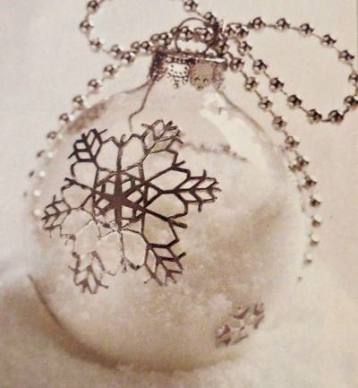 DIY snow filled ornament with snowflake decal