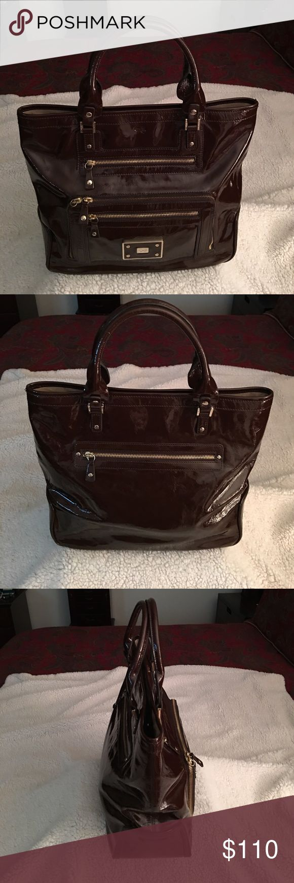 Anya Hindmarch Handbag Anaya Hindmarch Patent Leather Handbag.  Note it is missing a tab on one of the zippers.  It's barely noticeable. Anya Hindmarch Bags Satchels