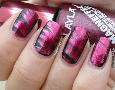 The 25 best fan brush nails ideas on pinterest striped nail art battle of planets 6 mars fan brush nail art with red metal nail polishes prinsesfo Image collections