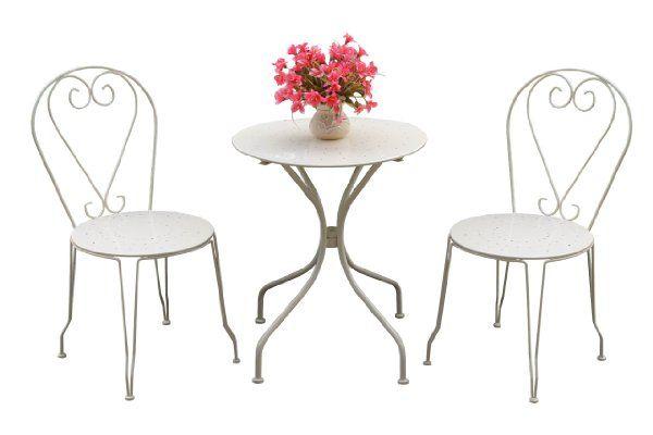 Bentley Garden Metal Garden Patio Furniture Bistro Set Round Table And 2 Chairs Cream 3
