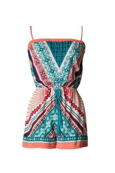 Find My Way Geometric Print Romper - Teal