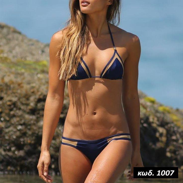 Κωδικός AD1007, Υλικό Spandex Lycra, Χρώμα Μπλέ, Navy Blue Color, Bikini Set, Μπικίνι, Δεσίματα, Διαφάνειες, See Through, Slides, Trasparent, Sexy, Summer Trend