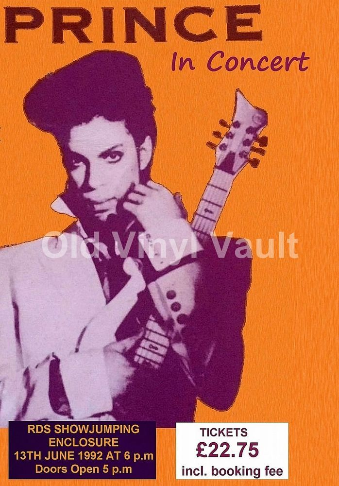 """Prince Concert Poster - RDS Dublin 1992 """"NEW"""" A3 Size Reproduction"""