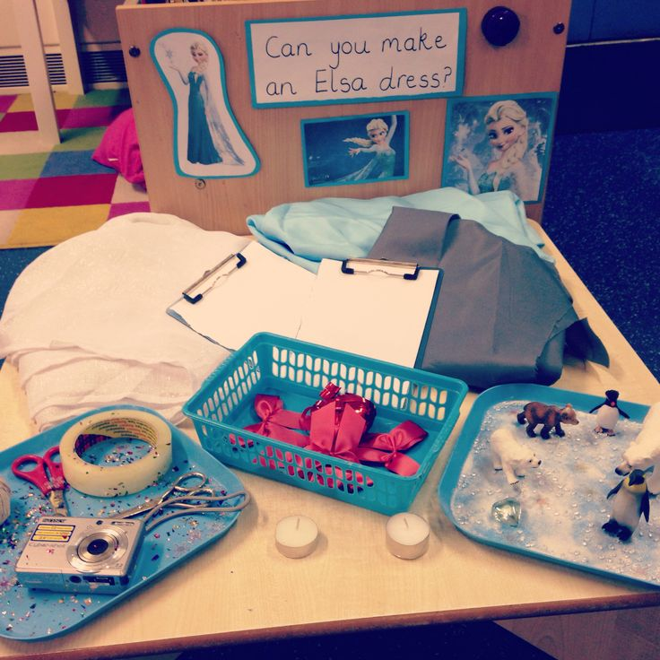 I created this #Frozen dress making area in my #earlyyears #classroom to promote problem solving, using their imaginations and creativity. I hope they enjoy it on Monday! I have provided the children with clipboards to design their dresses and given them a camera to take photos of the final product/s. The children have use of large materials, ribbon, sashes, string, Sellotape and bows and an icy small world tray is also available to stimulate language.