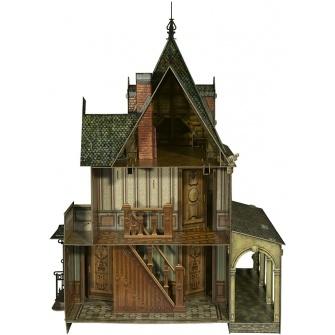 Умная бумага кукольный дом - 1 845.00 руб. - Кукольный дом (DOLLE HOUSE), артикул 283. Двухэтажный дом с мансардой в викторианском стиле. Размер 68х48х42 см. Внутренние помещения доступны через открывающиеся стенки. В окна вклеиваются стекла из пластика.Купить