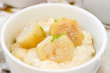 Rice pudding with poached feijoas