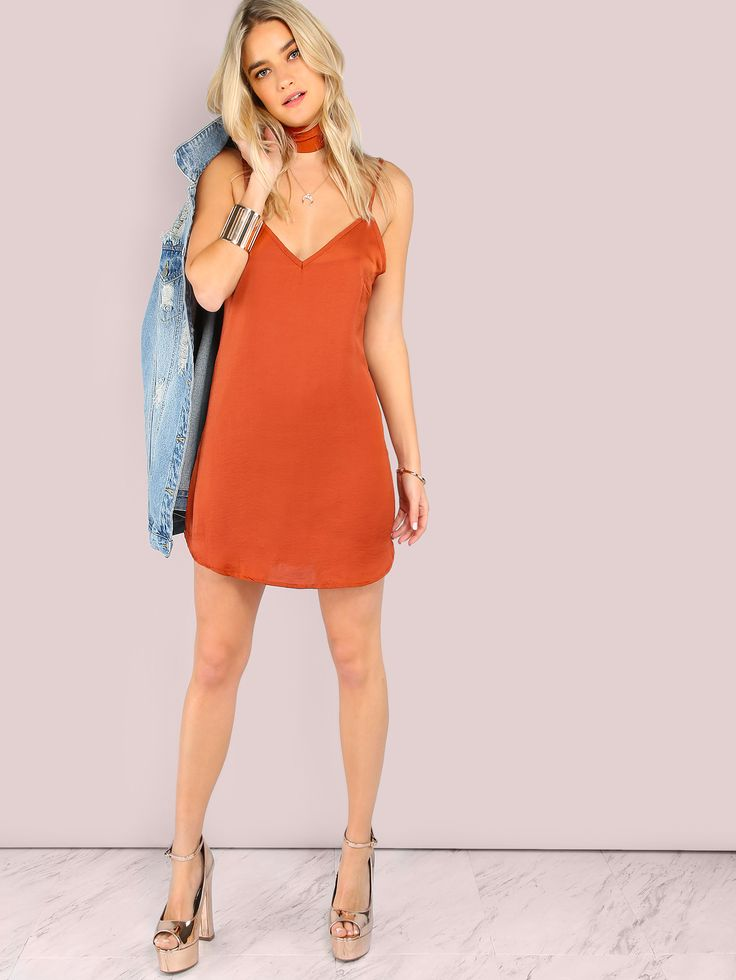 Shop Curved Hem Cami Choker Neck Tie Dress RUST online. SheIn offers Curved Hem Cami Choker Neck Tie Dress RUST & more to fit your fashionable needs.