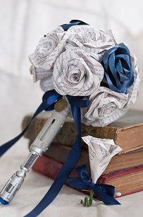 Book pages as roses (in this case, pages from Stephen Hawking's A Brief History of Time) and your doctor's sonic screwdriver.