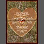 The background of the invitation is a hunting camo camouflage design.  The twine is just a printed design.   These country theme wedding invitations are perfect for camo weddings, hunting themed weddings, country weddings, or any rustic wedding for hunters. This is a unique rustic invitation style only found here on Zazzle Wedding Invitations.  Discount sale prices when you order 50+ invitations.    Just add your own wedding invitation wording to the invite. If you need to change the size…