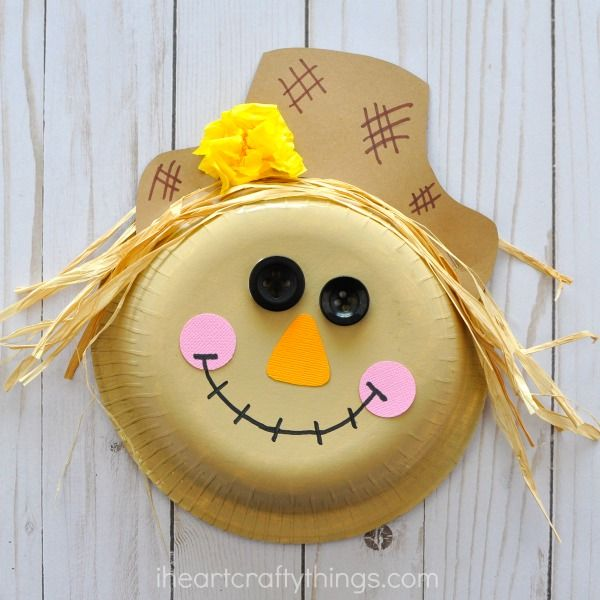 Adorable paper bowl scarecrow craft that is perfect for a fall kids craft and harvest kids craft for kindergarten and first grade kids!