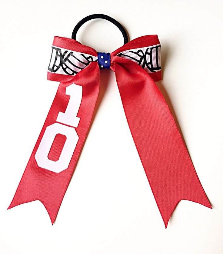Custom Volleyball Hair Bow, Volleyball Red Bow, Personalized Volleyball Hair…