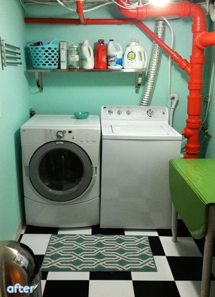 Not all of us have a perfect space for a perfectly finished laundry room. Sometimes you need to make due with what you can't move. Like this utilitarian piping turned stunningly artful with a coat of bright red paint!