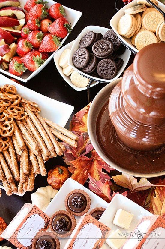 Chocolate fountain ideas. Surrounded by a huge array of tasty dipping ingredients, a chocolate fountain creates a focal point at your wedding and leaves a lasting impression.