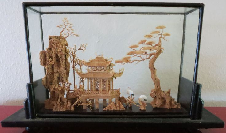 Kitchen Diorama Made Of Cereal Box: Antique 1940's SAN YOU Signed HAND CARVED Cork Diorama