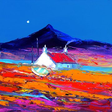 Croft And Boat North Uist by John Lowrie Morrison, Art Print