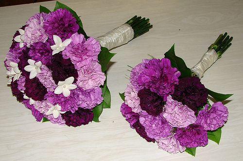 Purple Carnation Wedding Bouquets by Westosha Floral, via Flickr