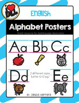Decorate your classroom with this Simple but CUTE Alphabet Poster set. They come in full (8 1/2 by 11) and half sized. Each poster has a picture (and word) to help students recall the sound. Check out the Spanish version for dual language classrooms.
