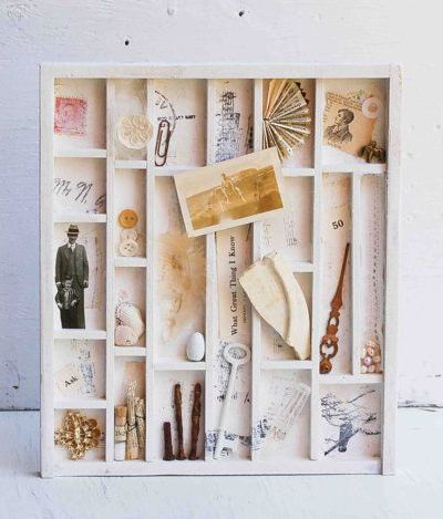 Collection from the Past - Vintage Compositotion Printer Type BOX Art Filled Assemblage Mixed Media Collage