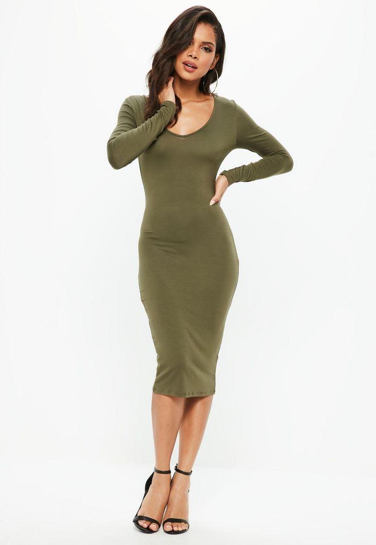 Missguided - Khaki Long Sleeve Midi Dress