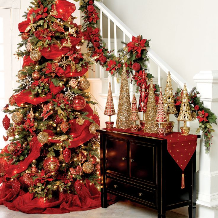 Red And Gold Christmas Trees: 128 Best Red And Gold Christmas Images On Pinterest