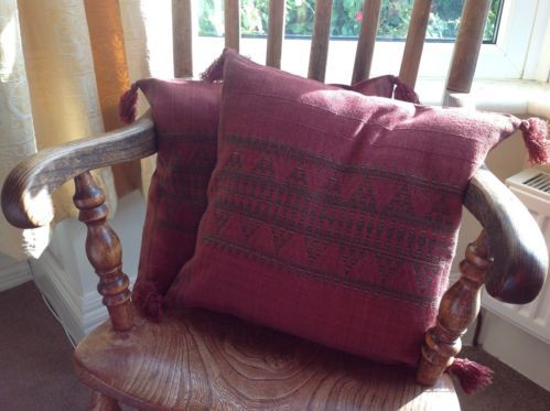 """New 2 Red Wine Designer Cushion Covers 100% Wool Ethnic Jacquard pattern 16"""""""