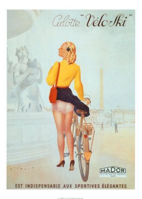 "Bicycle Paris girl riding underwear pants culotte Velo-Ski vintage poster. - Board ""Beauty-Bikes and Girls"". -"