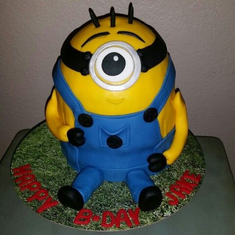 Minion inspired cake  Serving the IE, SGV and Orange County area with custom cakes for any occasion. Visit us on FB or instagram @SugarCrumbs14
