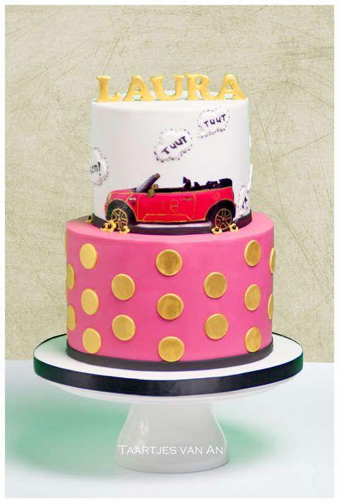 Taartjes-van-An-taart-nunspeet-bruidstaart-nunspeet-bruidstaart-elburg-bruidstaart-zwolle-bruidstaart-harderwijk-bruidstaart-ermelo-bruidstaart-zeewolde mini cooper cake girl pink mini cooper