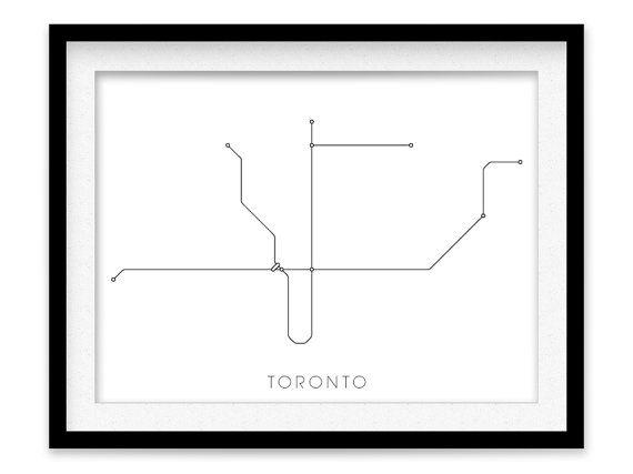 Toronto Subway Map Print Toronto Metro Map Poster by MetroMaps, $20.00