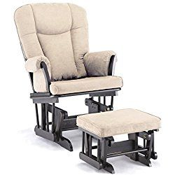 Shermag Stanton Transitional Style Nursery Glider Rocker and Ottoman, Espresso with Pearl Beige