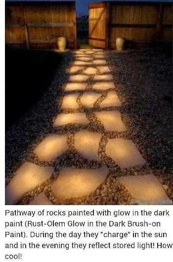 Glow in the Dark Painted Rock Path
