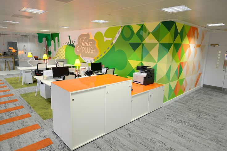 Juice Plus+ - Office interior including hand-painted murals, wall vinyls, illuminated signage & glass manifestation.