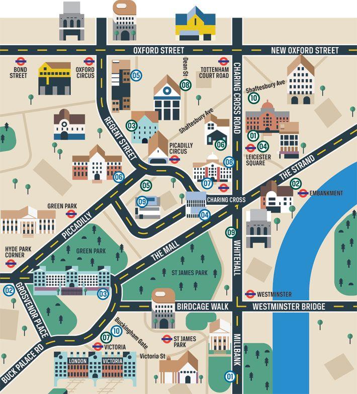 West End Theatres London Map.Destinations Theatre Map London Pinterest Map London Map