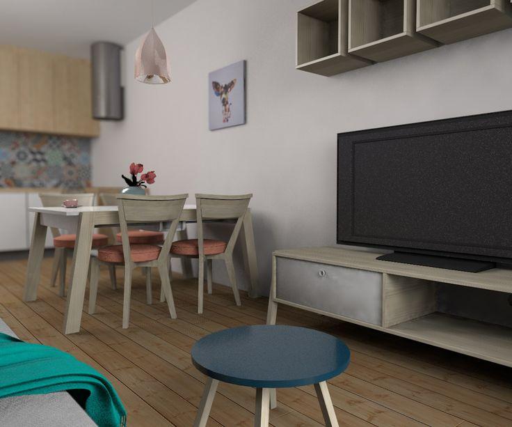 Aranżacja salonu z aneksem kuchennym | Martyna Szulist - architekt wnętrz