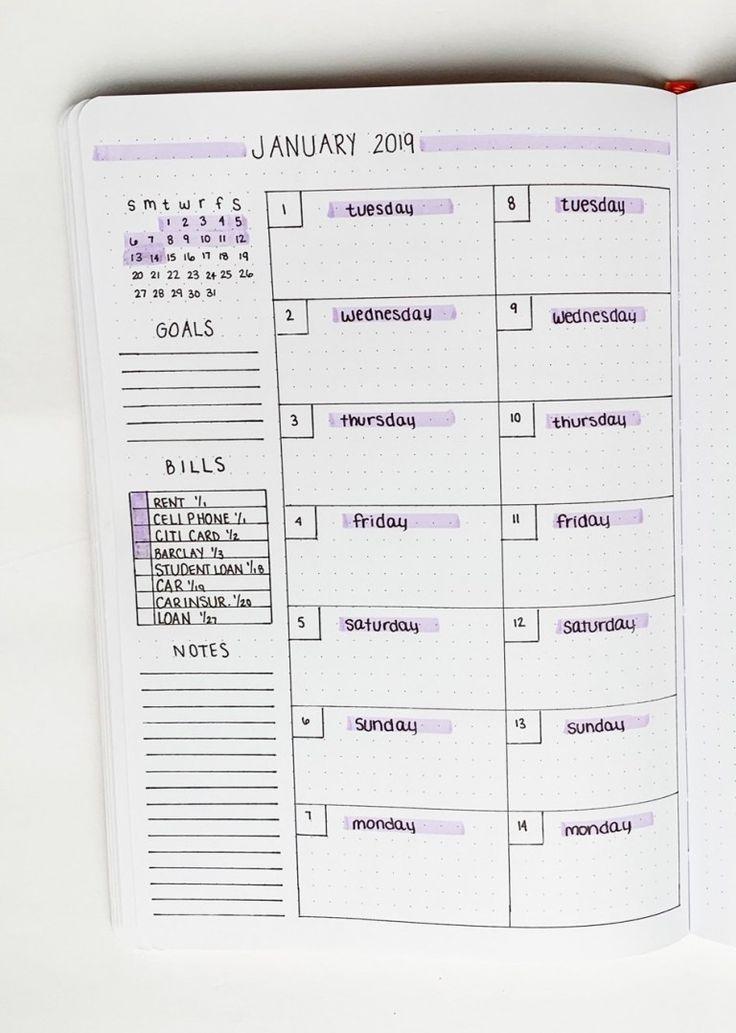 Wöchentlich Ideen für Ihr Bullet Journal verbreiten