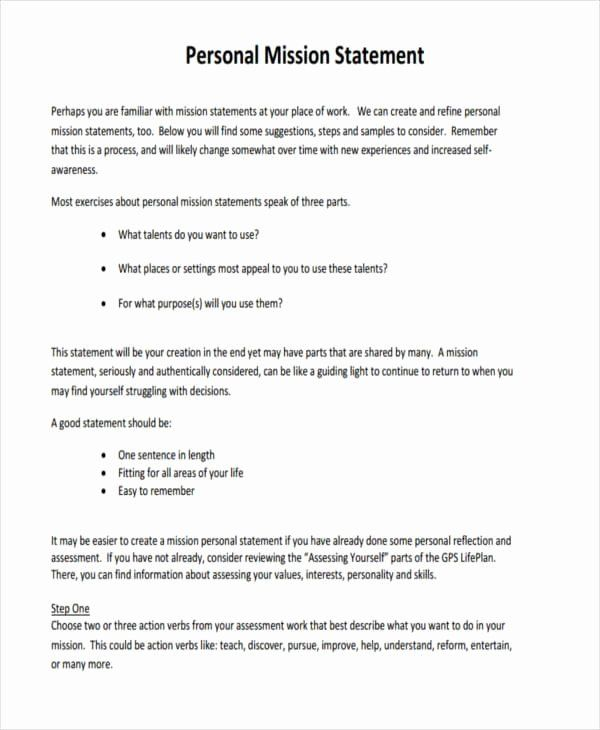 Personal Mission Statement Example Lovely Free 51 In Pdf Template Describe Yourself