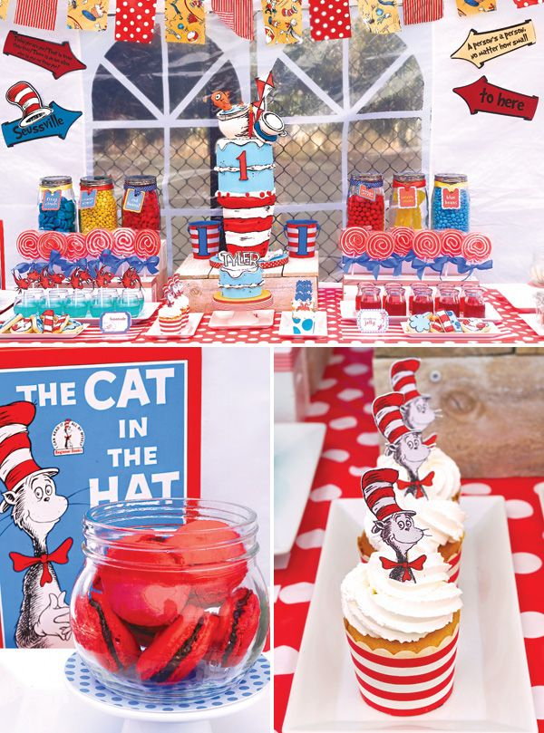 Quirky Dr. Seuss Cat in the Hat First Birthday Party