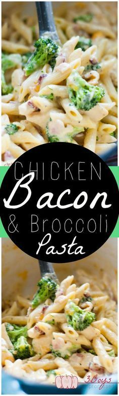 Chicken, Bacon, and Broccoli Pasta (I make it with Turkey Bacon :) )