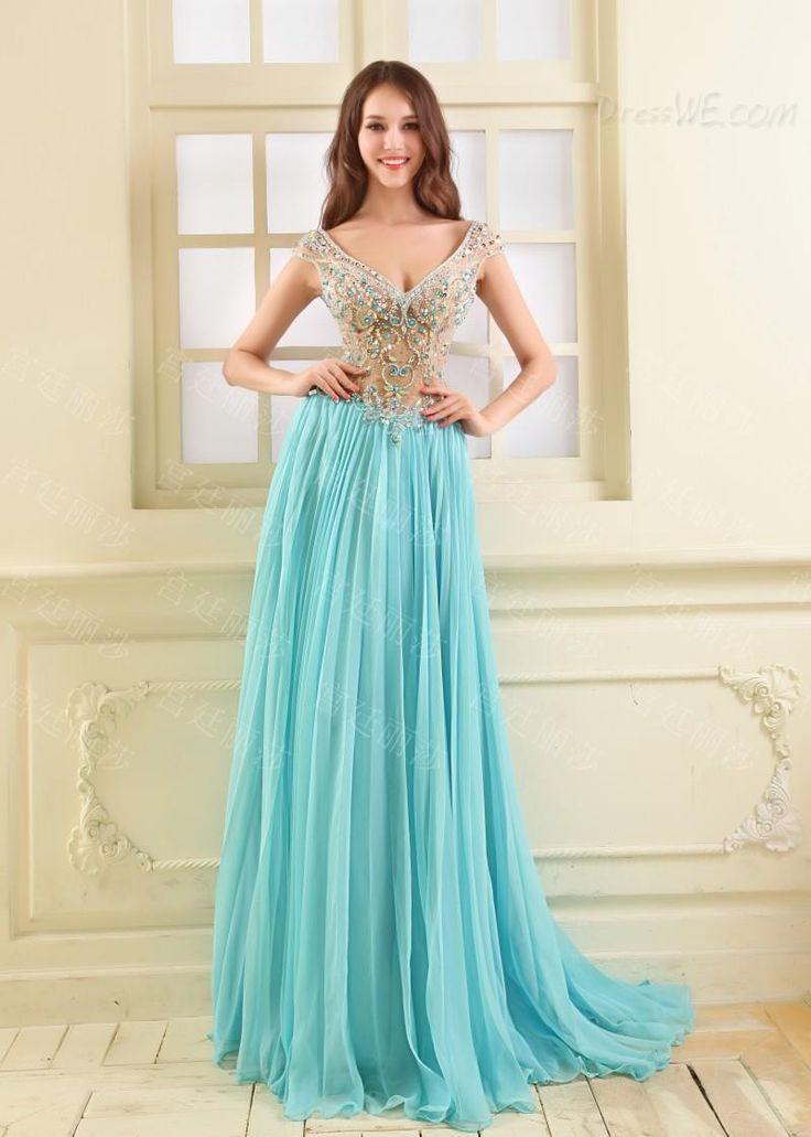 豪華なビーズVネックジッパーアップラインの床の長さのイブニング/ウェディングドレス 10945432 - イブニングドレス2014 - Dresswe.Com