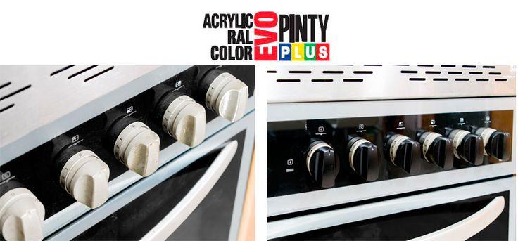 Renovar los mandos del horno con pintura en spray Pintyplus.  Supporting DIY with our spray paint.