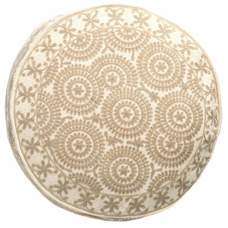 Boho Chic Ivory Round Pillow 18 in