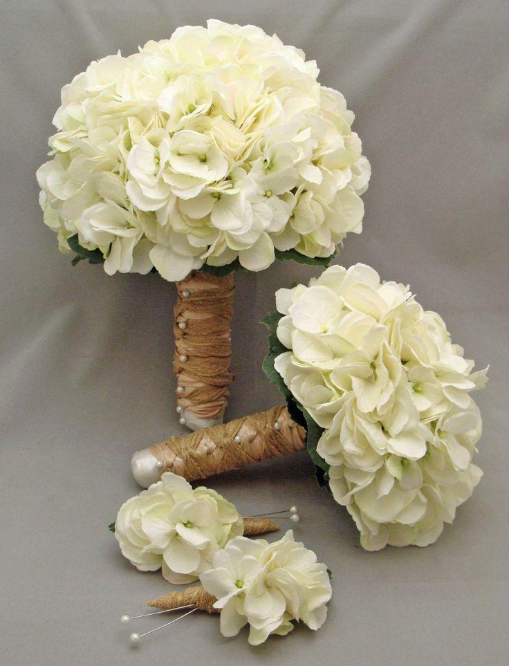White Silk Hydrangea Bridal & Bridesmaid Bouquet  Groom's Best Man Boutonniere - Silk Flower Wedding Package - Choose Your Colors. $155.00, via Etsy.