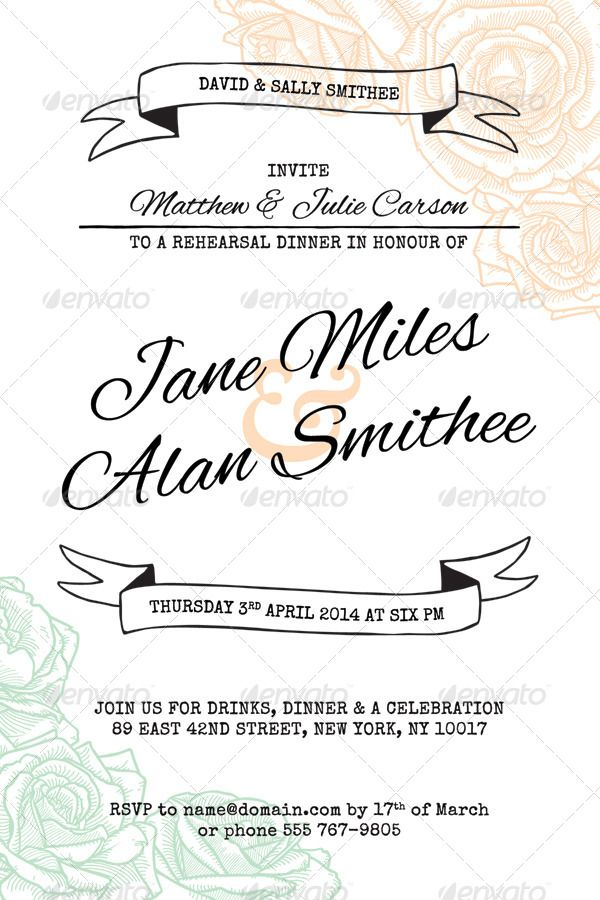 Elegant Rustic Floral Rehearsal Dinner Invitation  Clean, simple, pastel, rose wedding invitations.  Customizable template download from: http://graphicriver.net/item/elegant-rustic-floral-wedding-invitation/7780848?WT.ac=search_thumb&WT.z_author=PixelJam